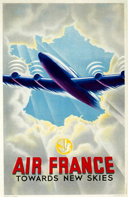 Airlines Drawing - 1940s France Air France Poster by The Advertising Archives