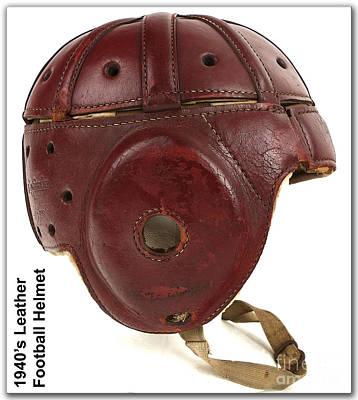 Football Mixed Media - 1940s Leather Football Helmet by Marvin Blaine