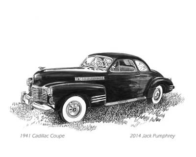 Ink Wash Drawing Painting - 1941 Cadillac 62 Coupe by Jack Pumphrey