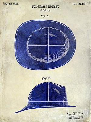 1941 Firemans Helmet Patent Drawing 2 Tone  Print by Jon Neidert