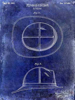 1941 Firemans Helmet Patent Drawing Blue Print by Jon Neidert