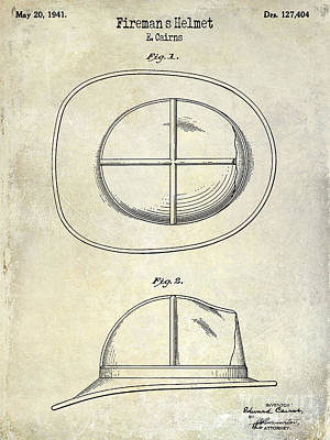 1941 Firemans Helmet Patent Drawing  Print by Jon Neidert
