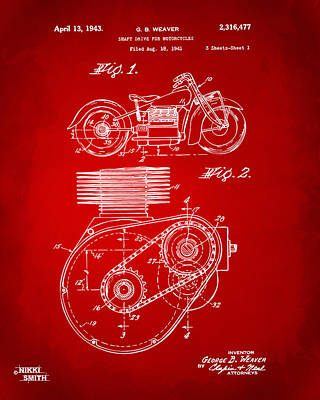 Transportation Digital Art - 1941 Indian Motorcycle Patent Artwork - Red by Nikki Marie Smith