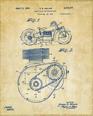 Motorcycle Drawing - 1941 Indian Motorcycle Patent Artwork - Vintage by Nikki Marie Smith