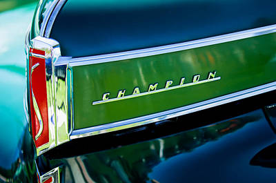 Car Part Photograph - 1941 Sudebaker Champion Coupe Emblem by Jill Reger