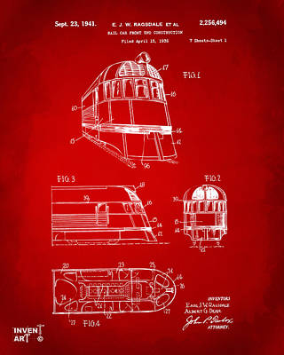 Train Digital Art - 1941 Zephyr Train Patent Red by Nikki Marie Smith