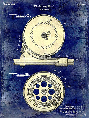 1942 Fishing Reel Patent Drawing 2 Tone Blue Print by Jon Neidert
