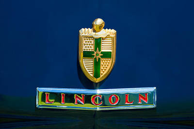 1942 Photograph - 1942 Lincoln Continental Cabriolet Emblem by Jill Reger