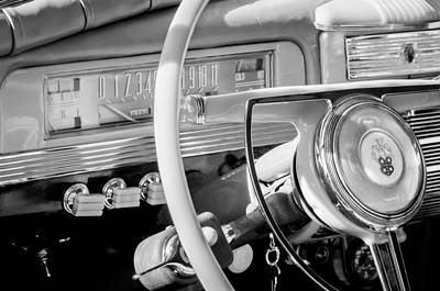 1942 Packard Darrin Convertible Victoria Steering Wheel Emblem Print by Jill Reger