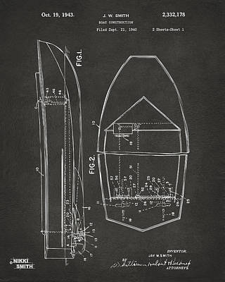1943 Chris Craft Boat Patent Artwork - Gray Print by Nikki Marie Smith