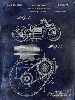 Harley Davidson Photograph - 1943 Indian Motorcycle Patent Drawing Blue by Jon Neidert