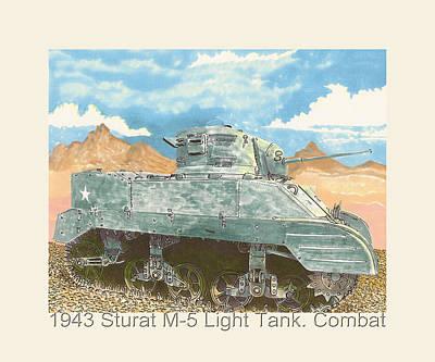 1943 Stuart M-5 Light Tank Combat Print by Jack Pumphrey