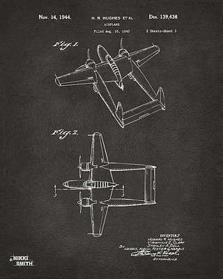 Cave Digital Art - 1944 Howard Hughes Airplane Patent Artwork - Gray by Nikki Marie Smith