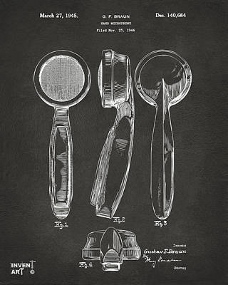 1944 Microphone Patent Gray Print by Nikki Marie Smith