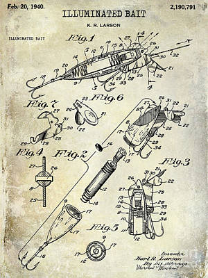 Largemouth Bass Photograph - 1940 Illuminated Bait Patent Drawing by Jon Neidert