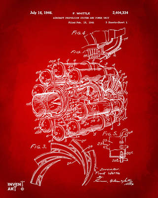 1946 Jet Aircraft Propulsion Patent Artwork - Red Print by Nikki Marie Smith