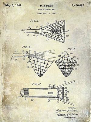 Net Photograph - 1947 Fishing Net Patent Drawing by Jon Neidert
