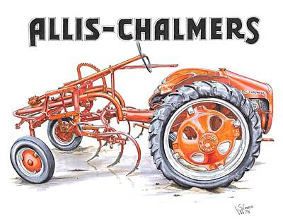 Rural Scenes Drawing - 1948 Allis Chalmers-g by Shannon Watts