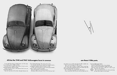Vw Digital Art - 1948 And 1965 Volkwagen Beetle  by Digital Repro Depot
