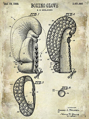 Boxing Gloves Photograph - 1948 Boxing Glove Patent Drawing by Jon Neidert