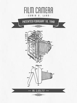 1948 Film Camera Patent Drawing - Retro Gray Print by Aged Pixel
