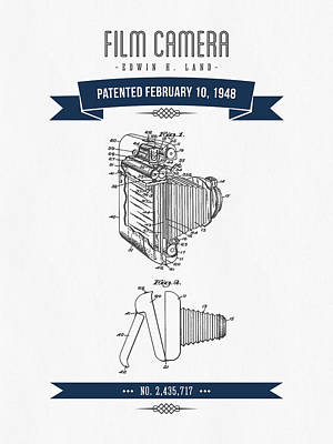 1948 Film Camera Patent Drawing - Retro Navy Blue Print by Aged Pixel