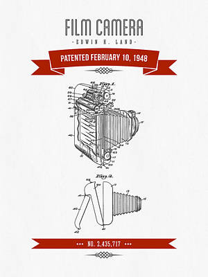 1948 Film Camera Patent Drawing - Retro Red Print by Aged Pixel