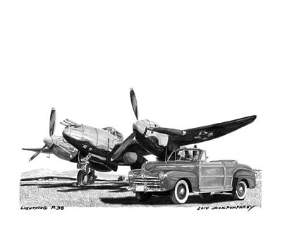 Ink Wash Drawing Painting - World War I I P 38 And 1948 Ford Sportsman Convert by Jack Pumphrey