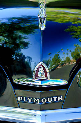 1948 Plymouth Special Deluxe Club Coupe Front Emblem -740c Print by Jill Reger