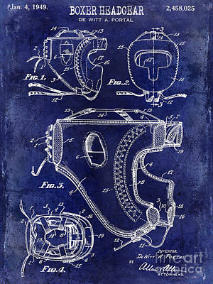 Boxing Gloves Photograph - 1949 Boxer Headgear Patent Drawing Blue by Jon Neidert