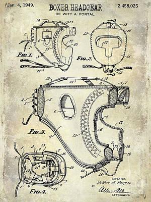 Boxing Gloves Photograph - 1949 Boxer Headgear Patent Drawing  by Jon Neidert