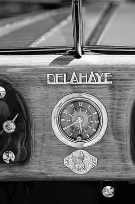Car Digital Art - 1949 Delahaye 175 S Cabriolet Dandy Dash Board Emblem - Clock by Jill Reger