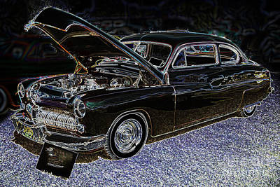 Antique Automobiles Drawing - 1949 Mercury Coupe In Color Dark Drawing 3036.04 by M K  Miller