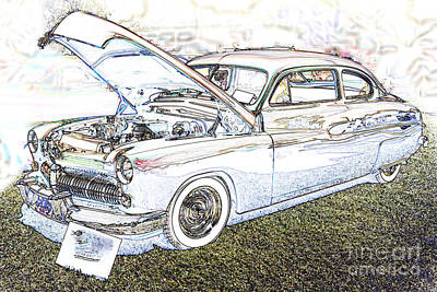 Antique Automobiles Drawing - 1949 Mercury Coupe In Color Light Drawing 3036.03 by M K  Miller