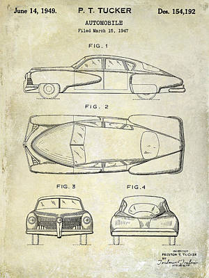 1949 Tucker Automobile Patent Drawing Print by Jon Neidert