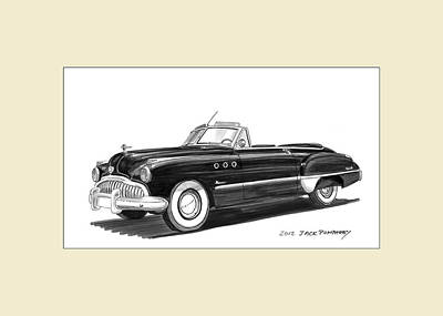 Watercolor With Pen Painting - 1950 Buick Special Convertible by Jack Pumphrey
