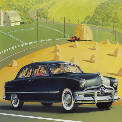 Black History Painting - 1950 Custom Ford - Square Format Image Picture by Walt Curlee