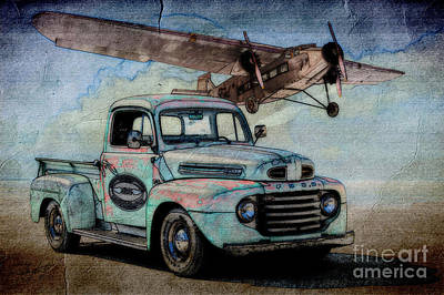 1950 Ford Pickup And Ford Trimotor  Print by Dave Koontz