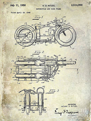 Harley Davidson Photograph - 1950 Motorcycle Patent Drawing by Jon Neidert