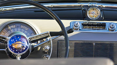 Historic Vehicle Photograph - 1950 Oldsmobile Rocket 88 Steering Wheel 3 by Jill Reger
