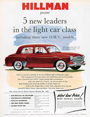 Hillman Photograph - 1950s Uk Hillman Magazine Advert by The Advertising Archives