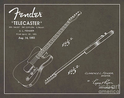 Blue And Grey Drawing - 1951 Fender Telecaster Guitar Patent Art In White Chalk On Gray  by Nishanth Gopinathan
