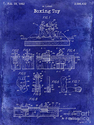 Boxing Gloves Photograph - 1952 Boxing Toy Patent Drawing Blue by Jon Neidert