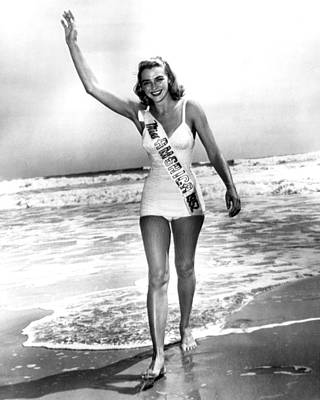 1952 Miss America On Beach Print by Retro Images Archive