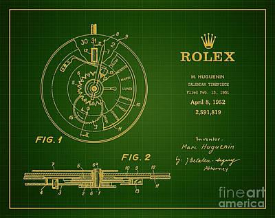 1952 Rolex Calendar Timepiece 1 Print by Nishanth Gopinathan