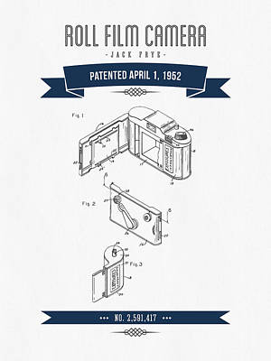 1952 Roll Film Camera Patent Drawing - Retro Navy Blue Print by Aged Pixel