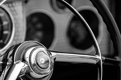 Sterling Photograph - 1952 Sterling Gladwin Maverick Sportster Steering Wheel Emblem -1848bw by Jill Reger