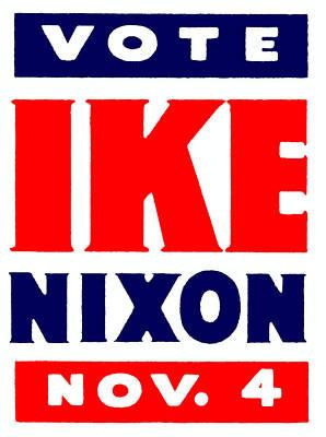 1952 Vote Ike And Nixon Print by Historic Image