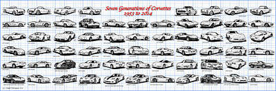 Sting Ray Drawing - 1953-2014-corvettes by K Scott Teeters