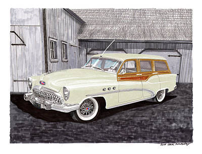 Used Painting - 1953 Buick Estate Wagon Woody by Jack Pumphrey